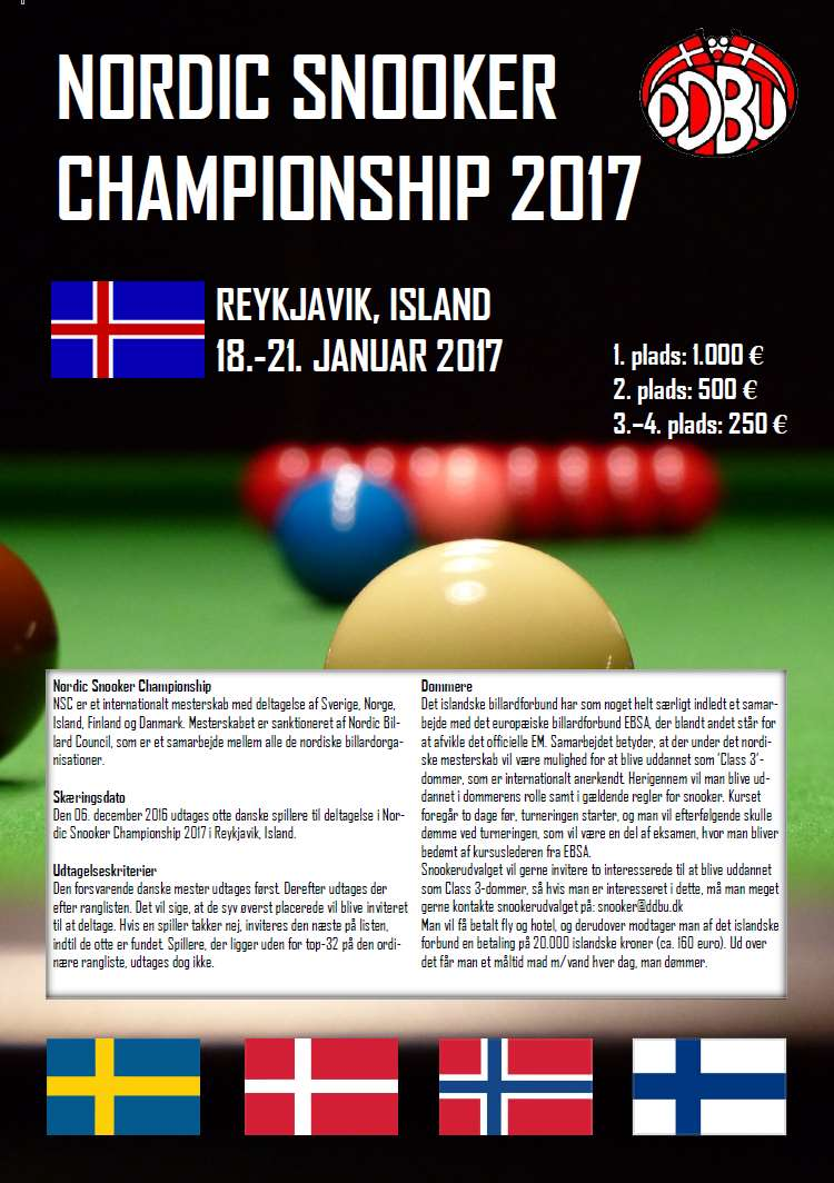 Invitation til Nordic Snooker Championship 2017 (klik for PDF).